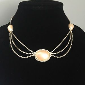 Vintage Necklace - Faux Pearl Gems and Rhinestones